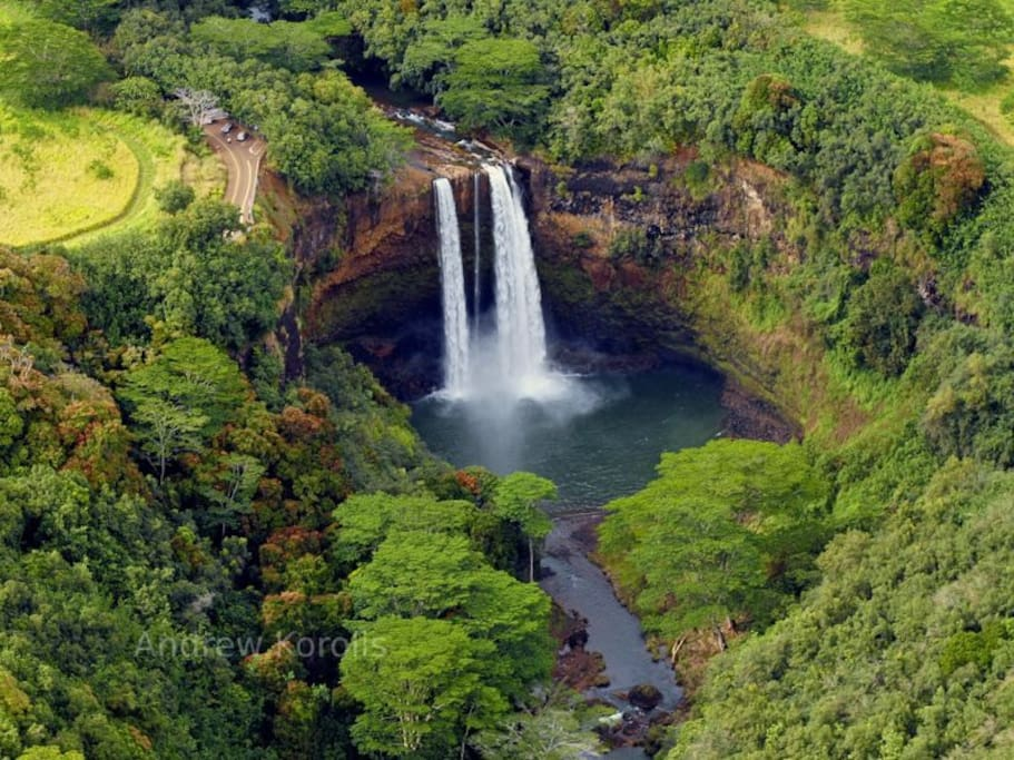 Wailua falls abt 1/2 hr away