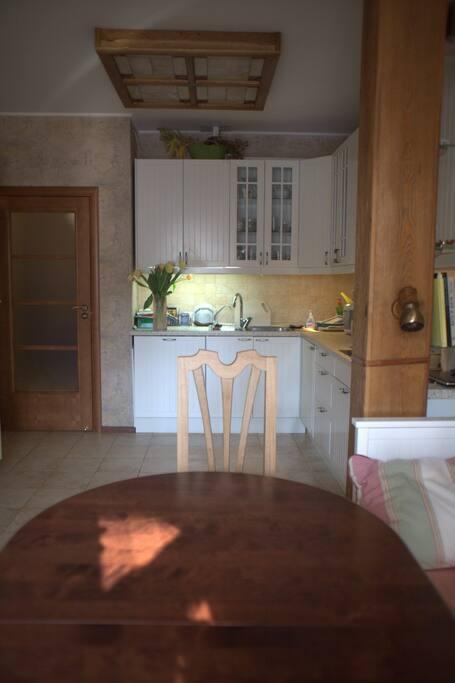 Кухня/гостиная, в которой находится комфортный раскладывающийся диван на 2 спальных места
