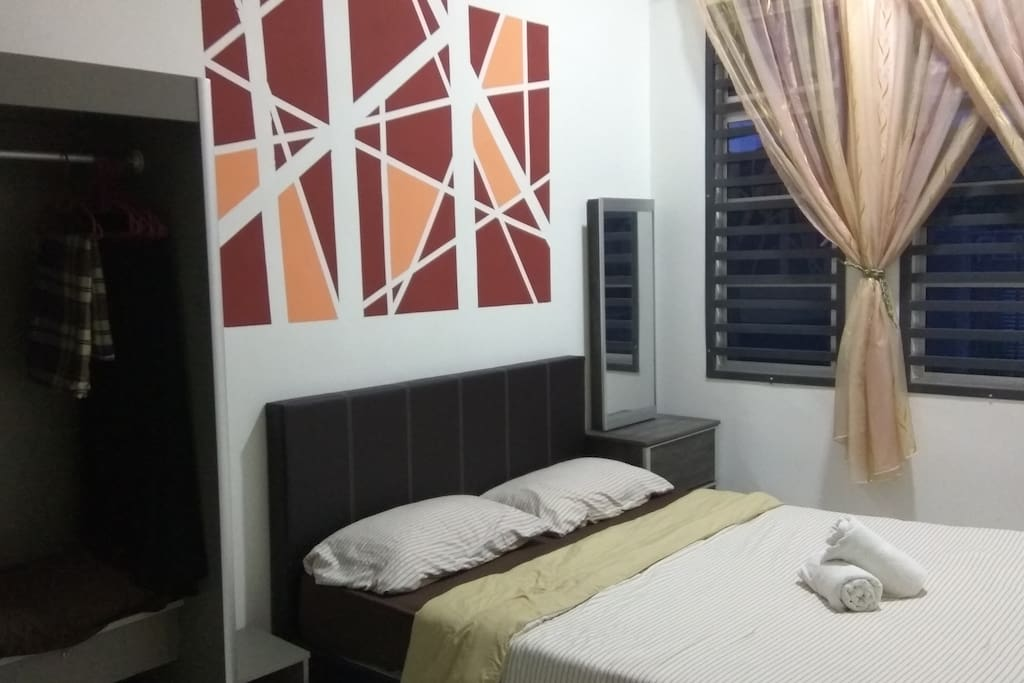 Master bedroom with complete bedroom set & air conditioner