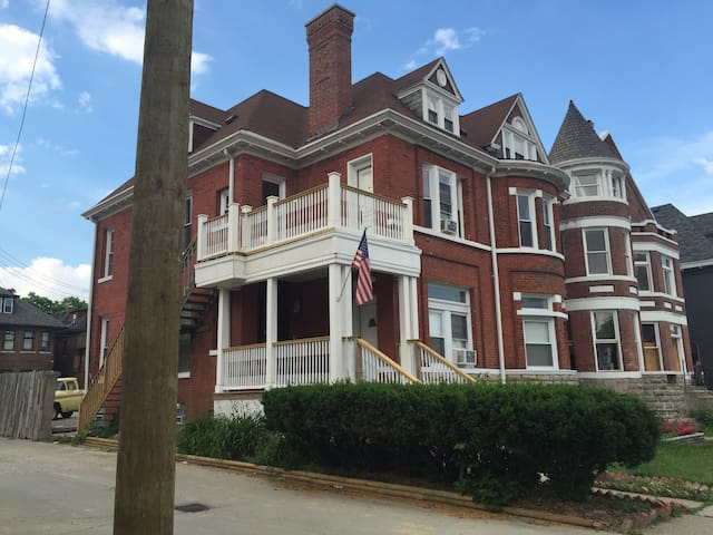 This is the front of our 1890's mansion converted into 5 apartments in the heart of Midtown Detroit just a block from Detroit Medical Center, Wayne state, and over 15 bars and restaurants.