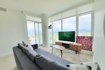 View of North Shores from the living room. Sofa converts into a full double size bed.