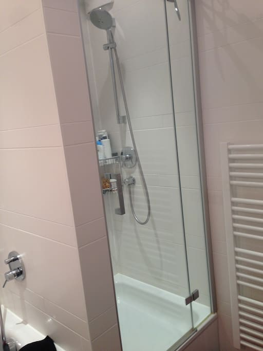 Shower, full bath, washing machine and sink. Separate from toilet.
