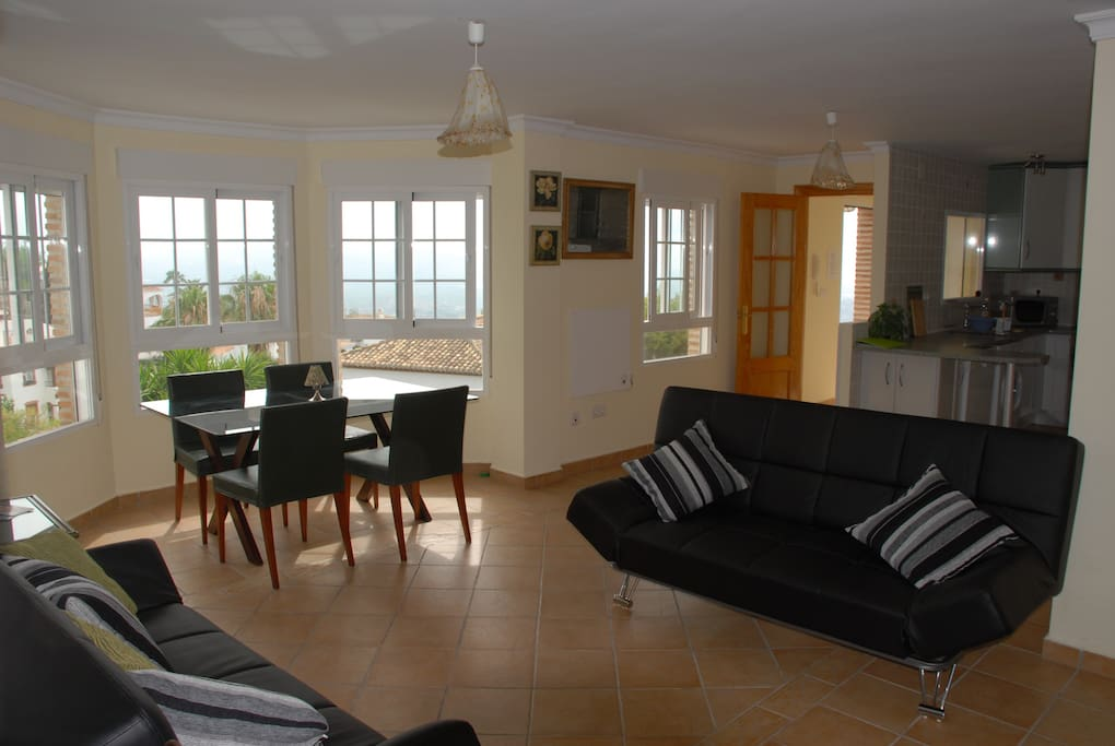 Open plan living and dining area,beautiful views from every room. American style kitchen