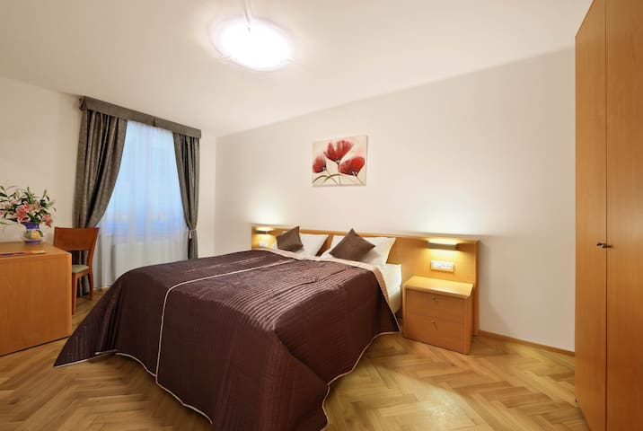 Bed can be prepared as one double bed or two single beds