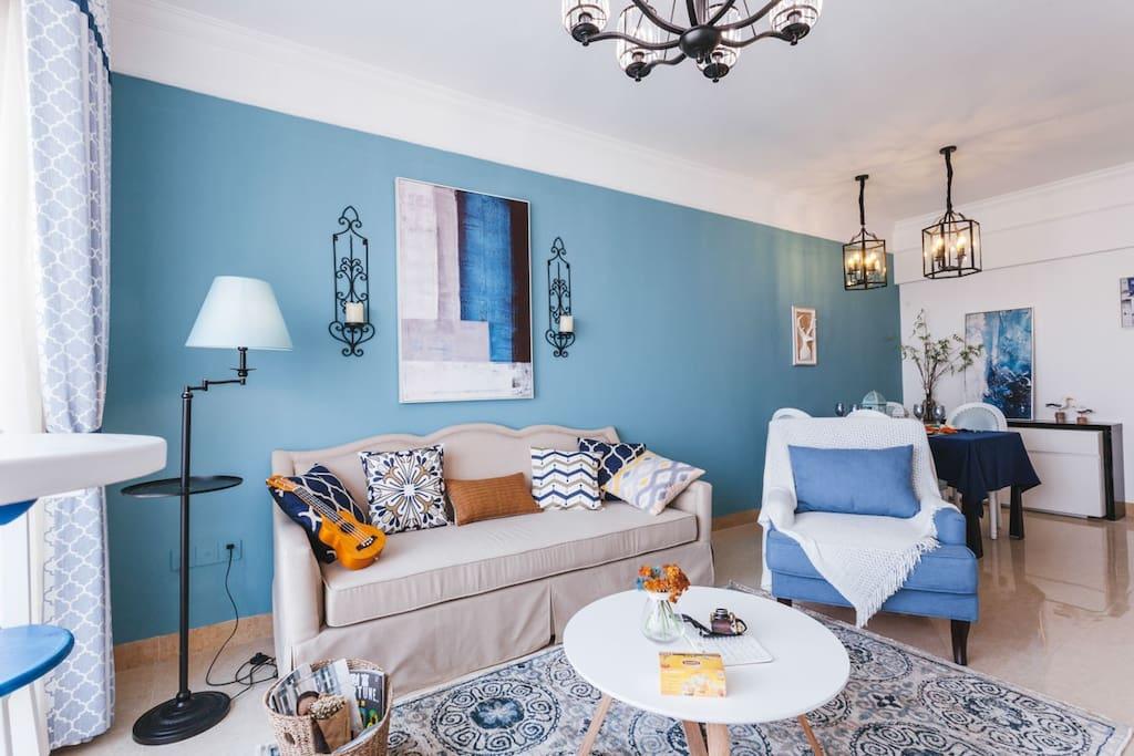 浓情地中海客厅,蓝色是欢喜的