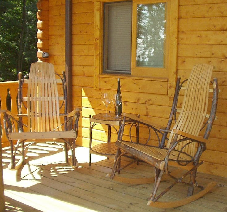 Bentwood rockers on the private front porch - the perfect spot to enjoy a glass of Finger Lakes finest!