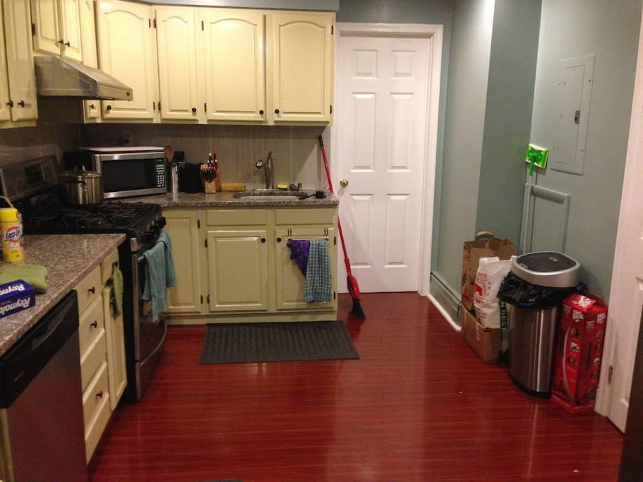 Fully stocked kitchen ready for you to cook any meals. Includes oven, microwave, toaster oven, dishwasher, silverware, pots, pans, dishes, and glasses.