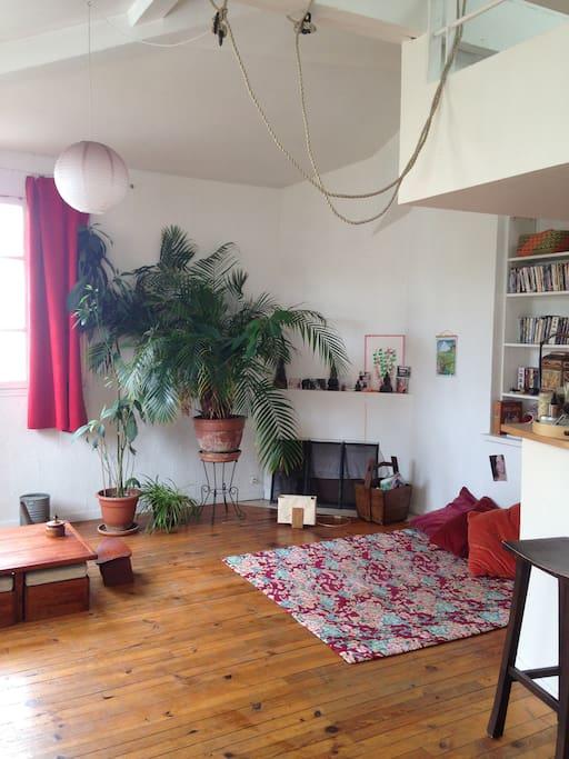 salon zen et comfortable avec canapé et coin yoga