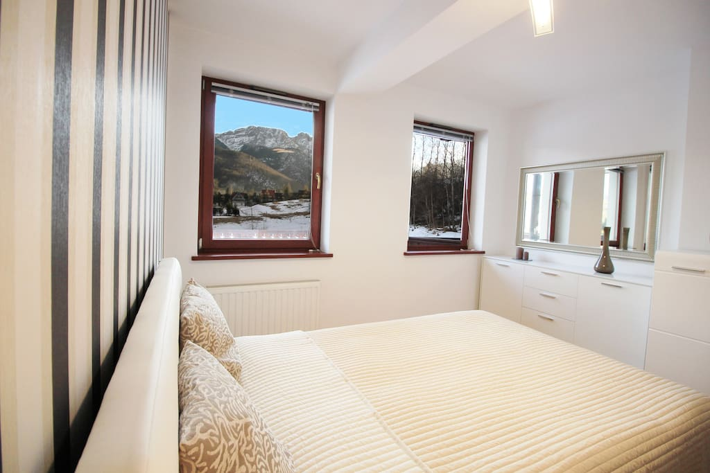 Main bedroom with beautiful view from windows.