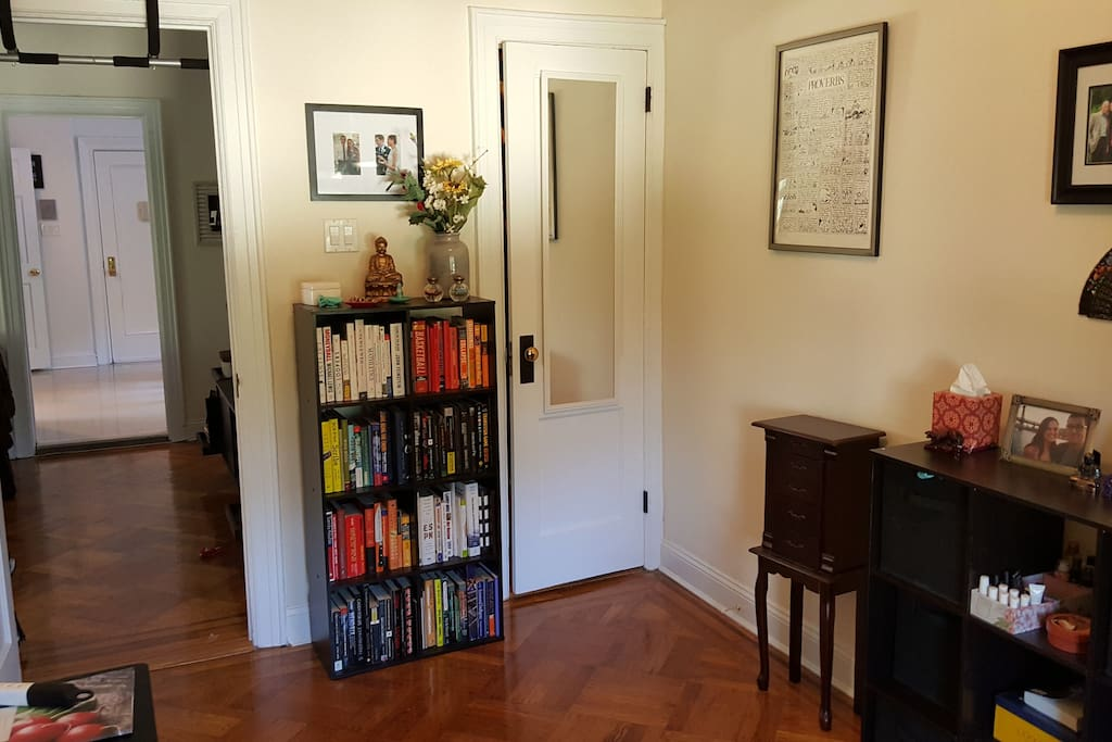 Our second bedroom is set-up like an office -- desk and bookcase included. You can set up our air mattress in this room.