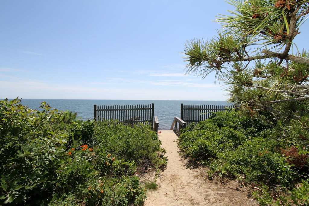 The short path to the private neighborhood beach. What a view of the Sound!