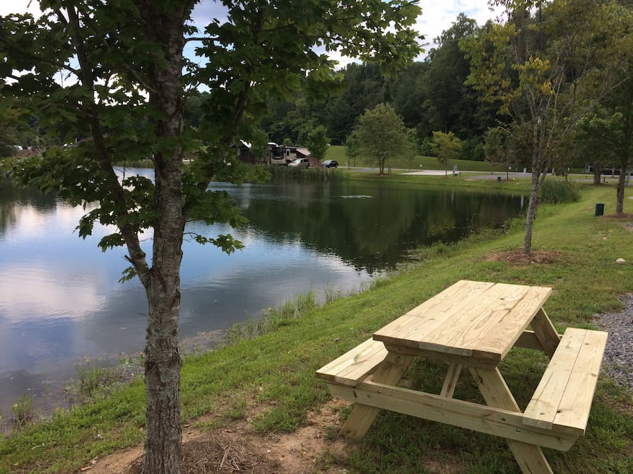 Sit lakeside at Lot 25's very own picnic table.