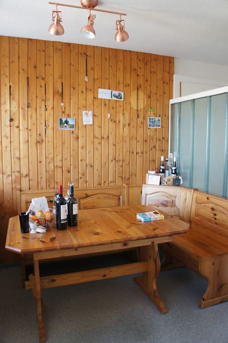 Here we have a cool wooden table and bank - typical Swiss style!