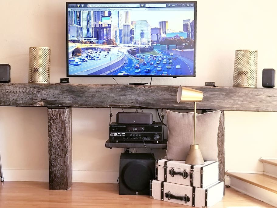 Smart T.V w/ surround sound. * Real Georgia Reclaimed Rail Road Track Console,  solid 700 lb custom piece.