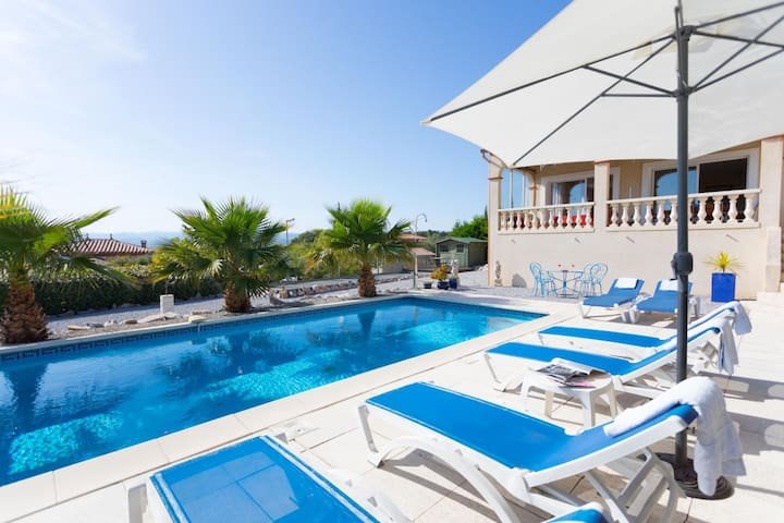 Typical French holiday villa with boules court and private swimming pool