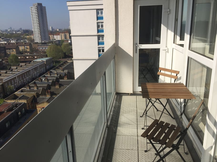 High floor with a balcony, south facing and all day sun. Well it's london maybe not sunny everyday  but bright and light :)