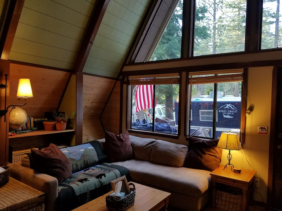 A-frame magic: watching the snow come down through these big picture windows.