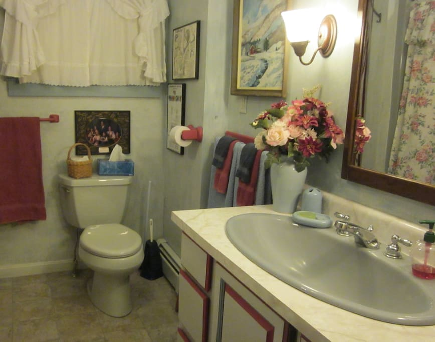 The Parlor bathroom has a large tub with shower & a tub chair for those who need easy access.