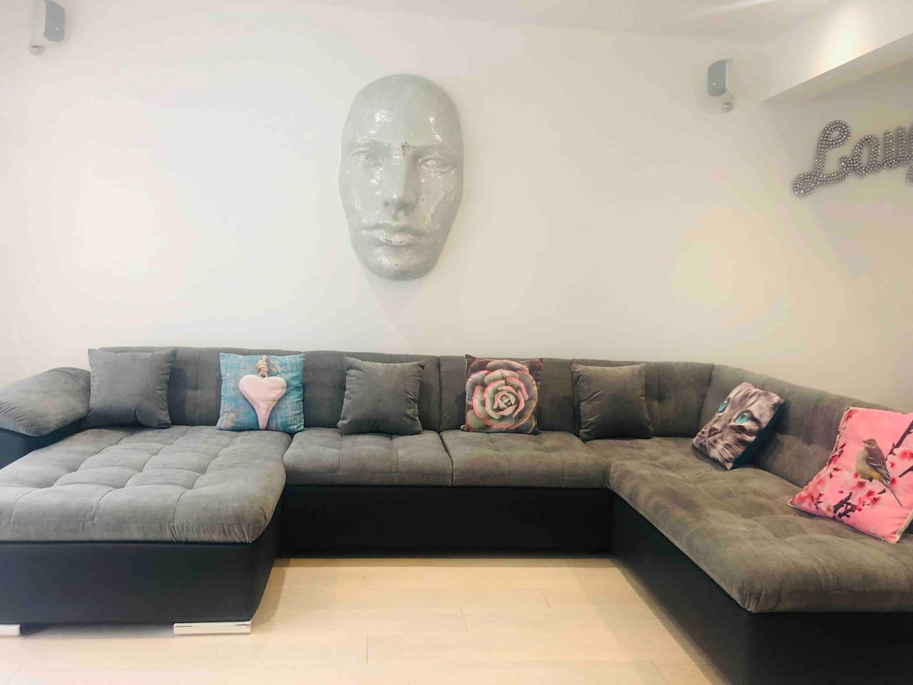 Large sofa in open lounge diner