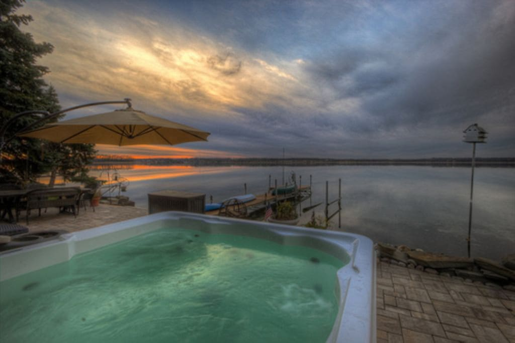 Sunset at Wise Owl Landing over Cayuga Lake from the 6 person Hot Tub.