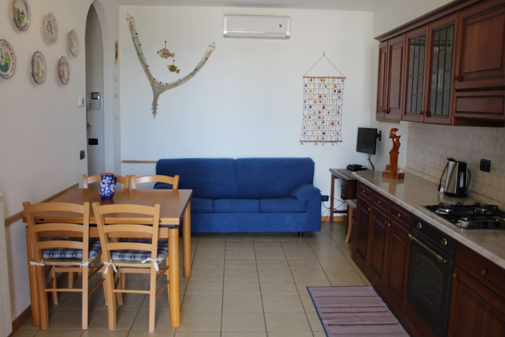 Living-room and kitchen