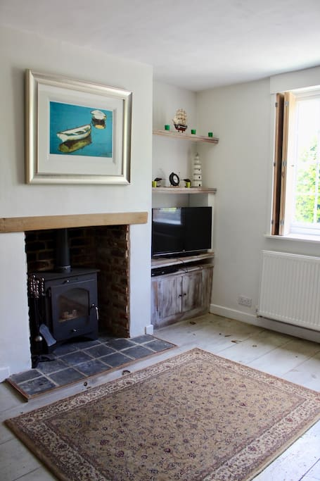The lounge with wood burning stove