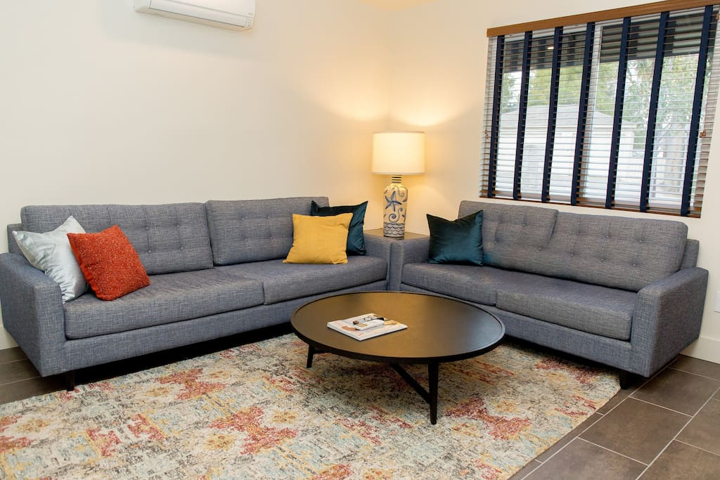 Living Space has 2 Sofas, Large LED TV
