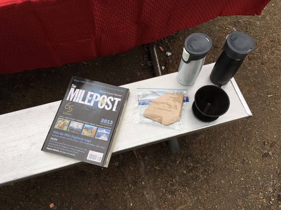 Milepost (detailed road guide) and coffee fixings.