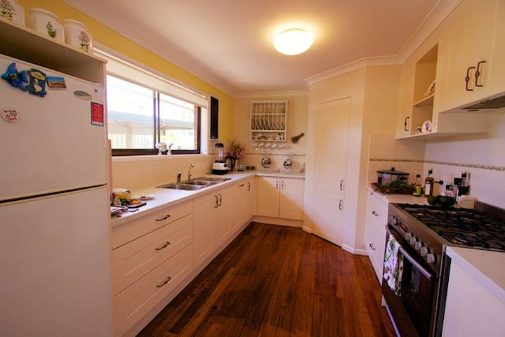 Great kitchen to cook in! Spacious  with lots of bench space  -  gas stove.  I  occasionally will share the kitchen with my guests.