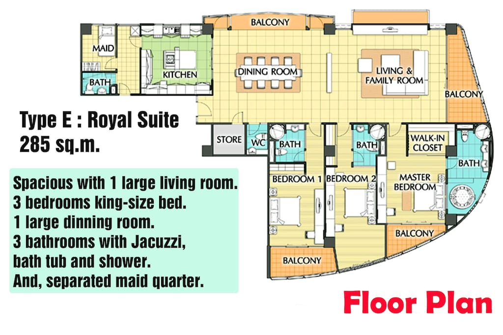 3-Bedroom, and 3-Bathroom Floor Plan.