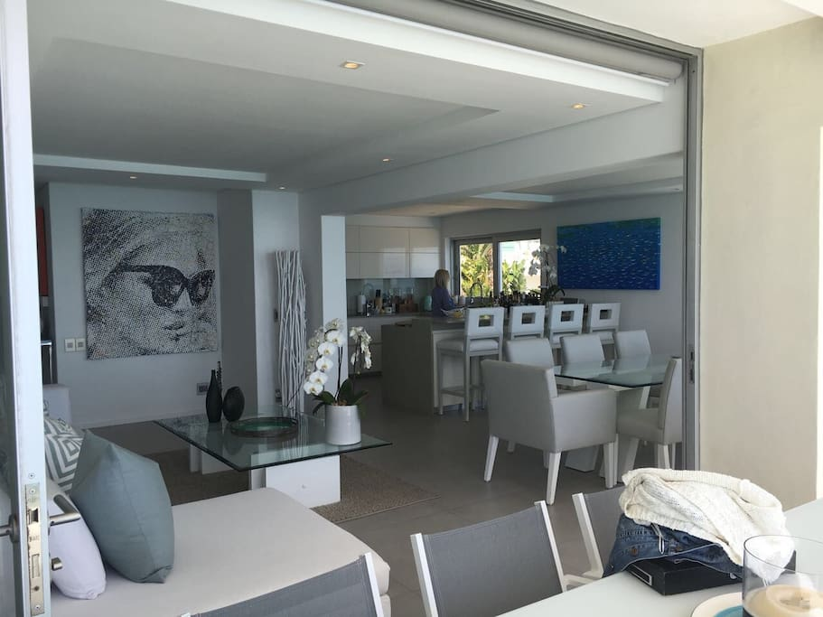 Lounge through to dining room through to state of art kitchen