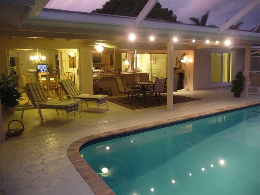 Pool and Lanai by night