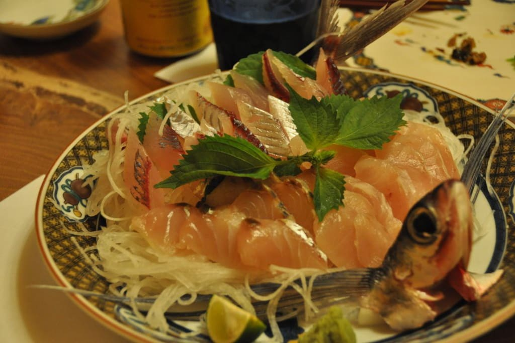 Kaiseki dinner with self-caught local sashimi raw fish