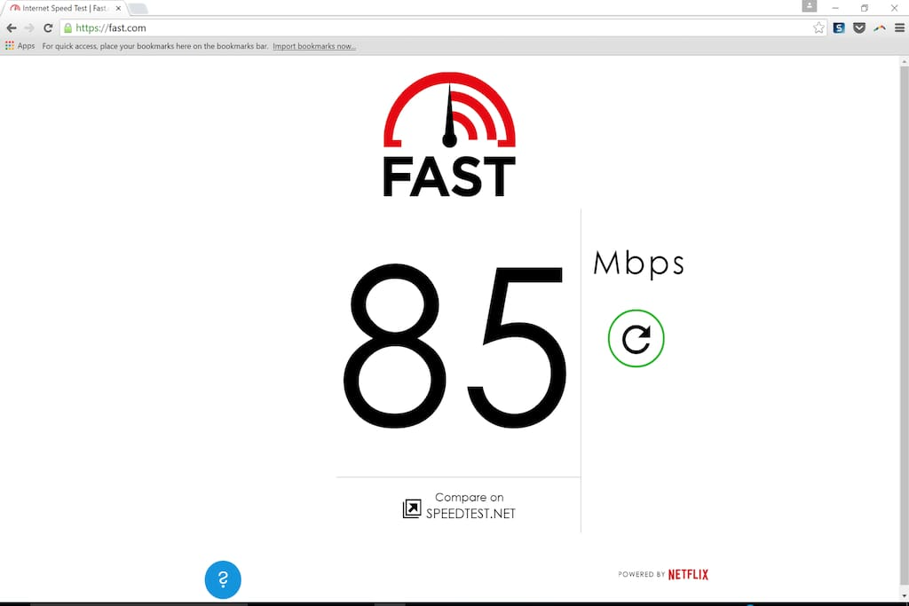 Lightning-fast wifi - results may vary, this was a speedtest run on a Surface Pro 3 computer from the laptop desk in the living room