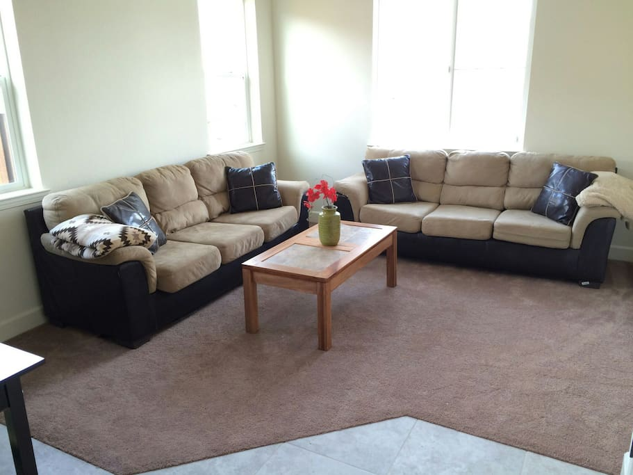 2 Couches and coffee table.