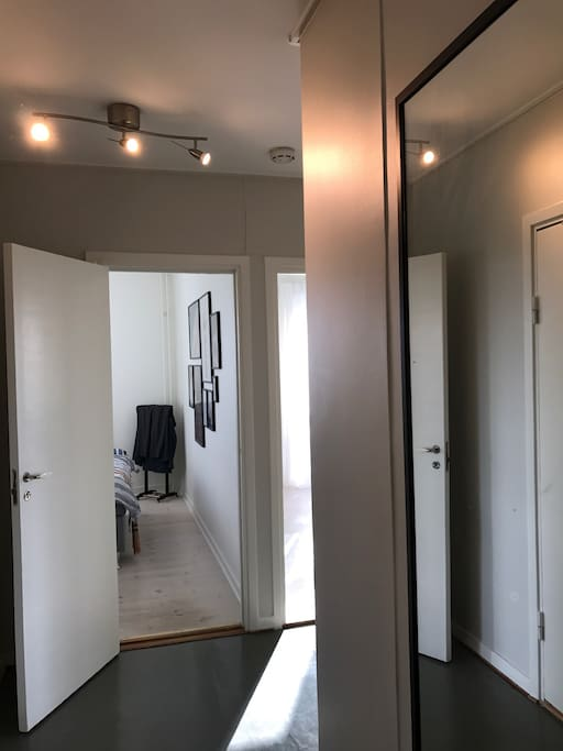 The hall, big mirror at the door, connects to the bedroom, living room and kitchen area. Good storage possibilities.