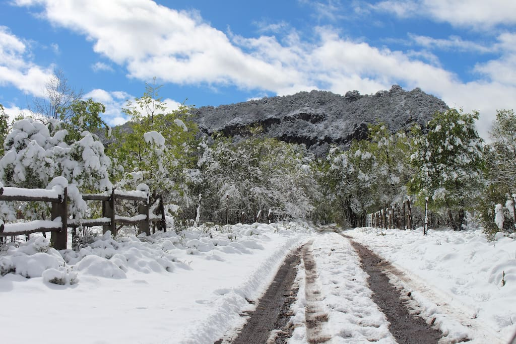 Camino a la cabaña en invierno