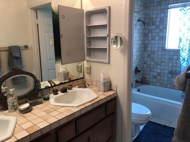 Private Bath with tub, shower and double sink.