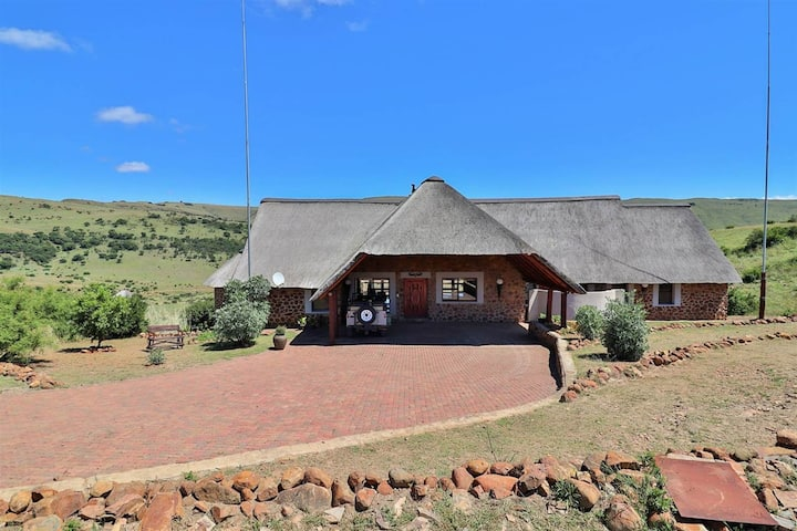 African game lodge on fish and wildlife reserve