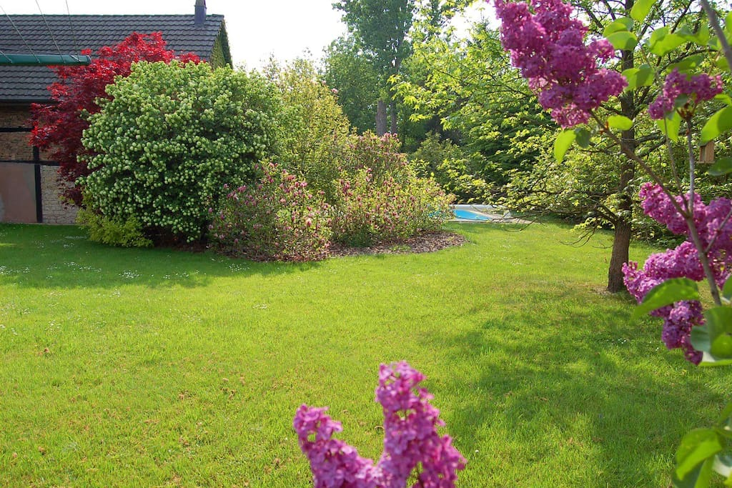 Grand espace jardin entièrement arboré et fleuri.