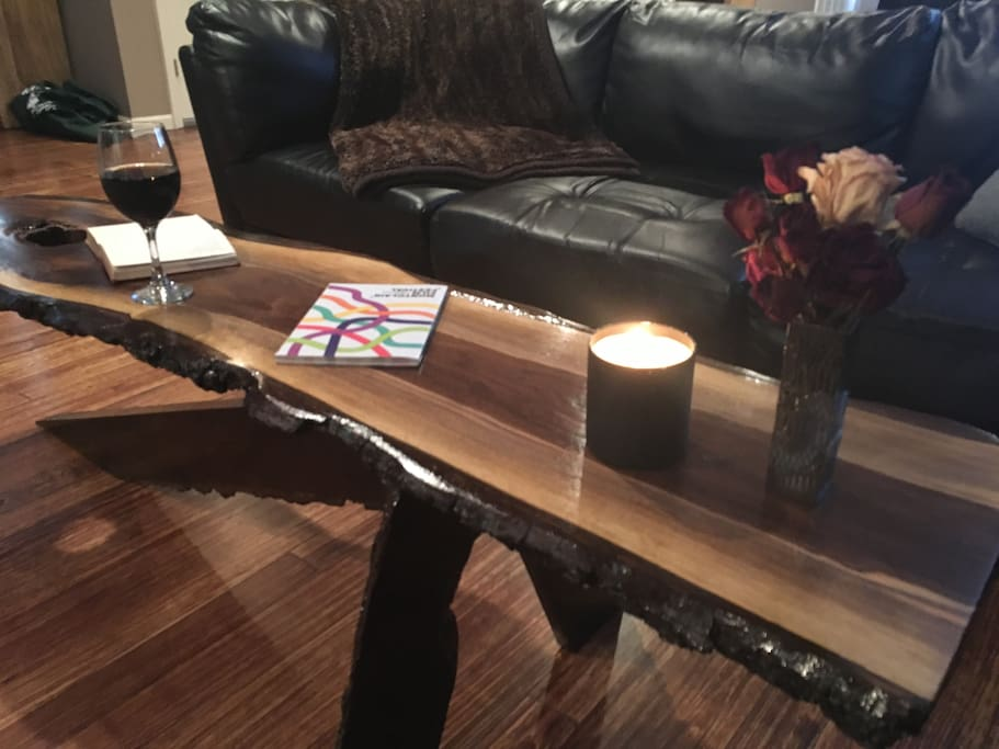 I built this live-edge black walnut table from locally harvested wood.  Fun project!