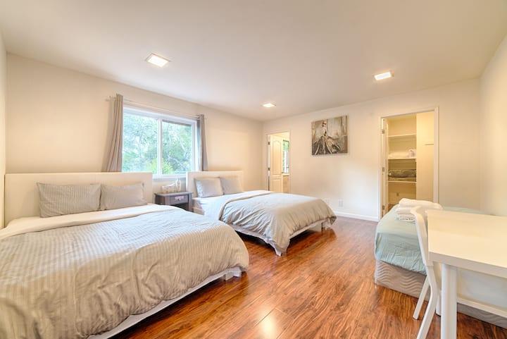 Deep cleaning旧金山机场附近Millbrae高尚住宅区全新超大独立卫生间衣帽间三床套房