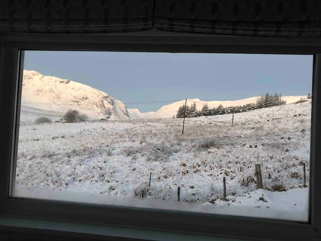 View down the Ogwen valley from the master bedroom in winter.