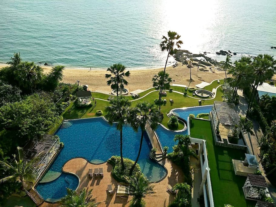 The pool and private beachfront is unrivaled in the Pattaya area.