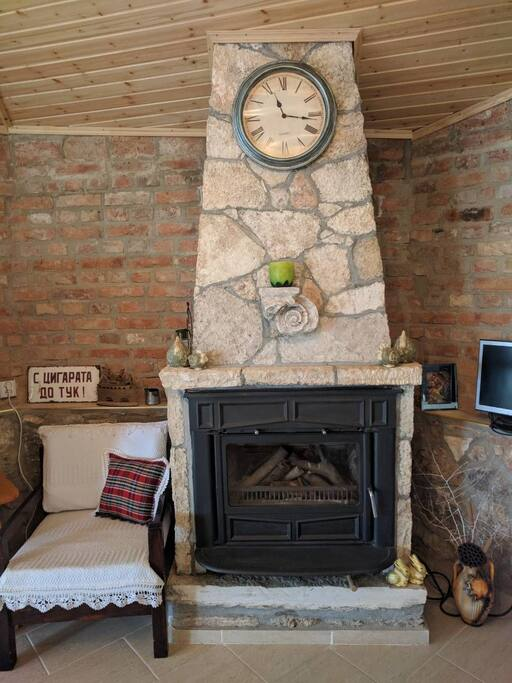 Fireplace in the common room available for all guests