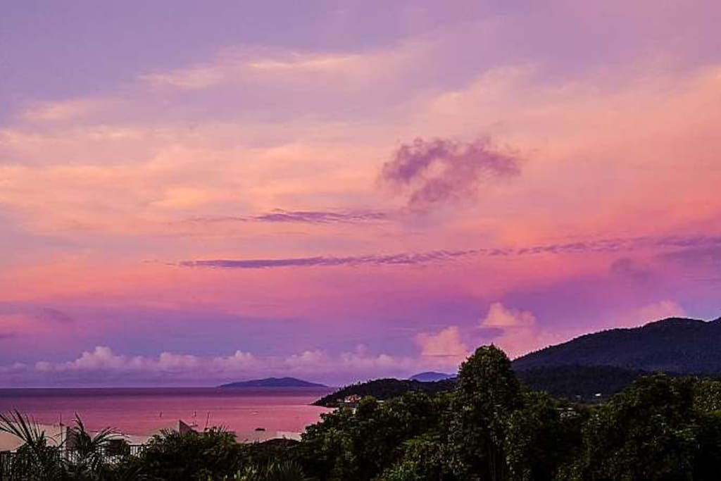 Sunset in the Whitsundays from your own private penthouse