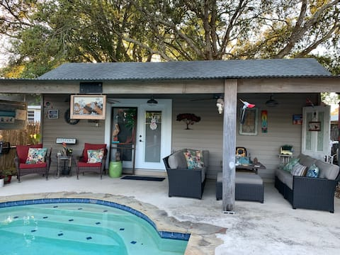 """The Bayou Poolhouse, """"Come stay with friends""""."""
