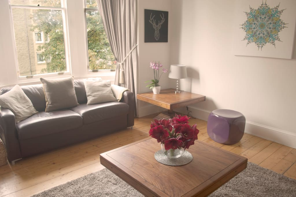The bright and spacious living room is where guests will find the sofa bed, as well as large TV with a Virgin TV package. Period features make this a very pleasant room to spend time relaxing after a busy day in Edinburgh.