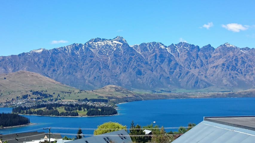 Views from the balcony. The Remarkables and Lake Wakatipu.