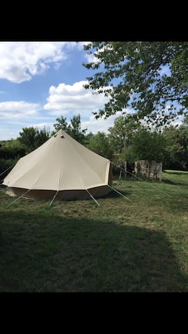 Beautiful bell tent glamping With swimming pool
